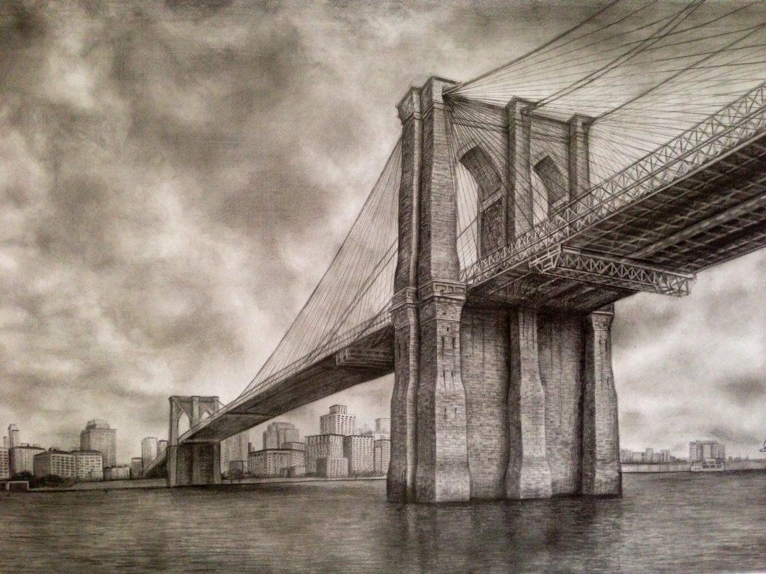 Brooklyn Bridge - drawing by Monica Cirstea
