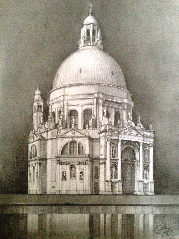 Santa Maria della Salute - drawing by Monica Cirstea