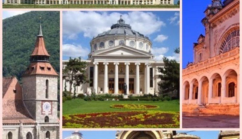 Romanian architecture collage