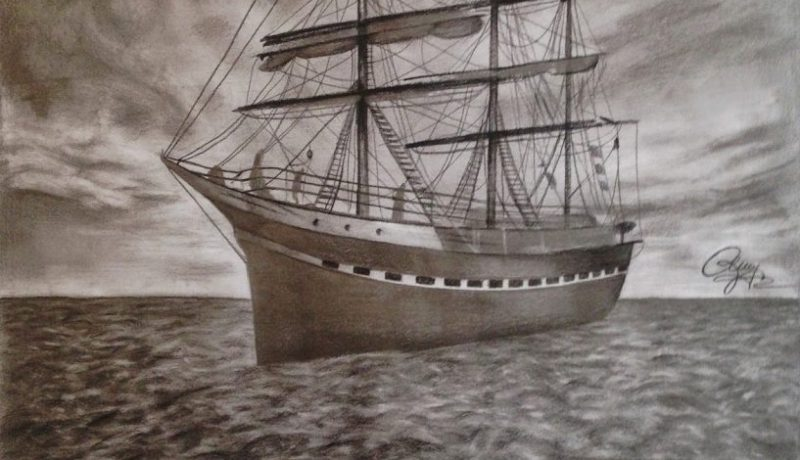 Voyage on sea drawing
