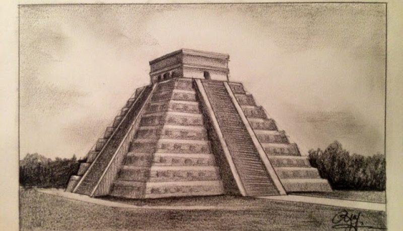 Sketch-Chichen Itza Pyramid