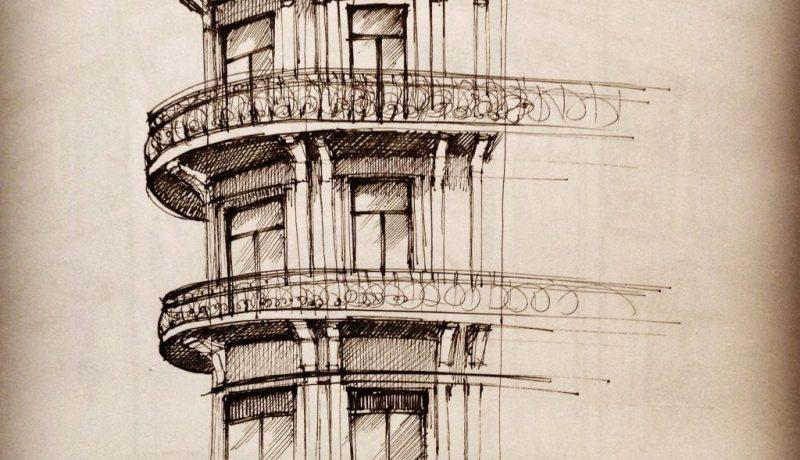 Hotel Boulevard Bucharest - sketch by Monica Cirstea