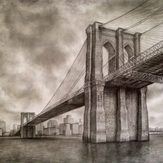 Brooklyn Bridge - drawing by Monica Cirstea