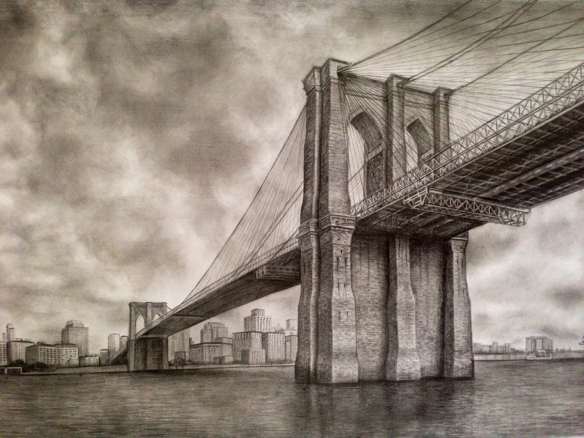 Brooklyn bridge pencil drawing dreams of an architect malvernweather Images
