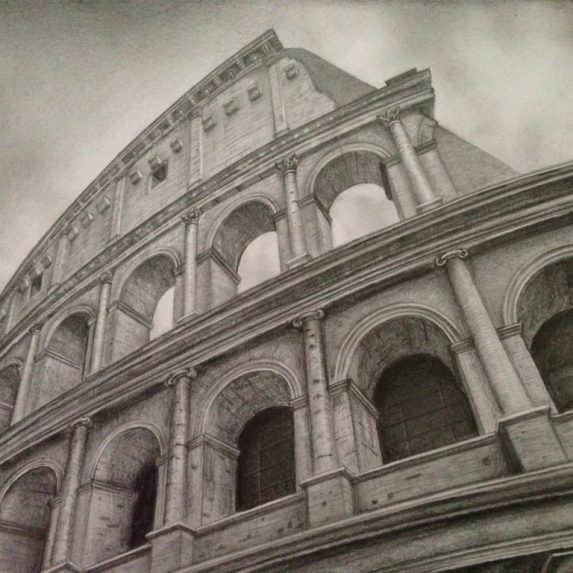 Colosseum drawing by Monica Cirstea