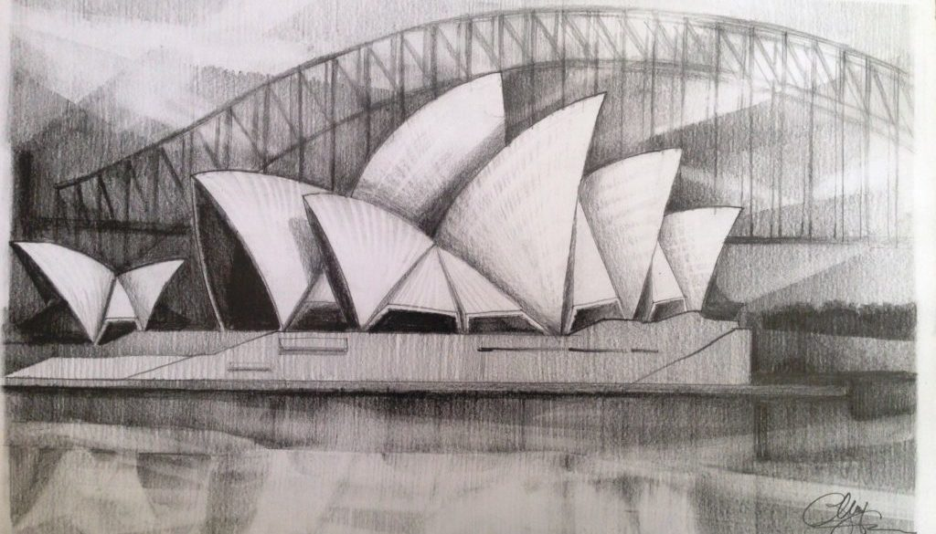 Sydney Opera House – pencil drawing