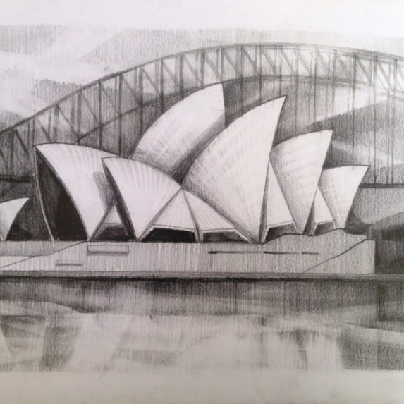 Sydney Opera House - drawing by Monica Cirstea