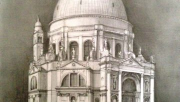 Santa Maria della Salute - drawing by Monica Cirstea