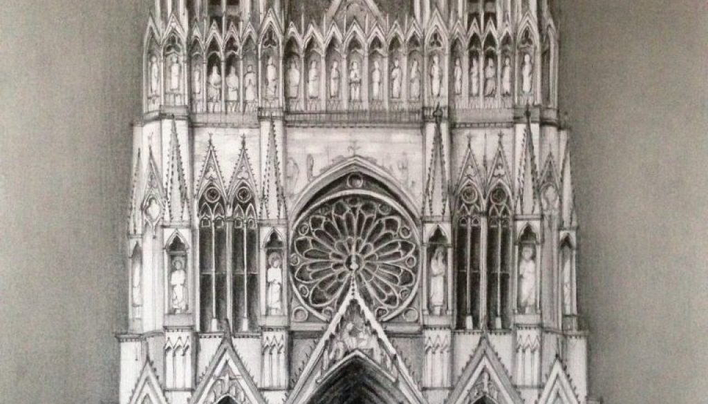 Reims Cathedral Pencil Drawing