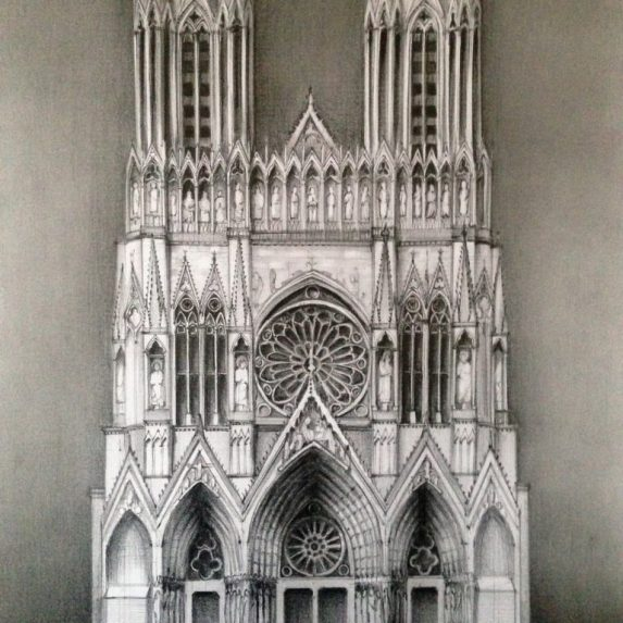 Reims Cathedral - drawing by Monica Cirstea