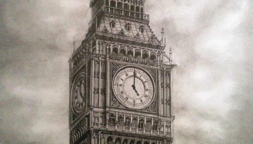 Big Ben - drawing by Monica Cirstea